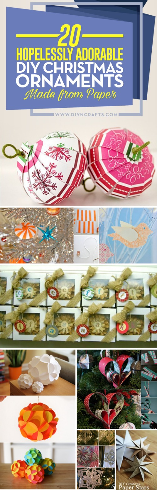 20 Hopelessly Adorable DIY Christmas Ornaments Made from Paper