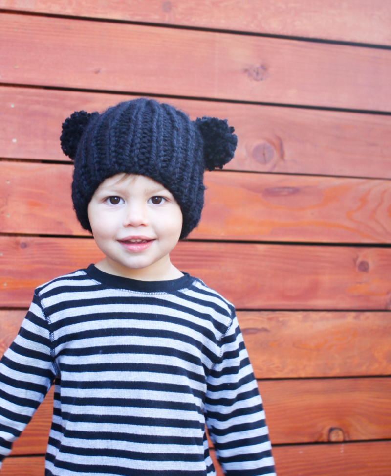 Bear beanie kids knitting pattern