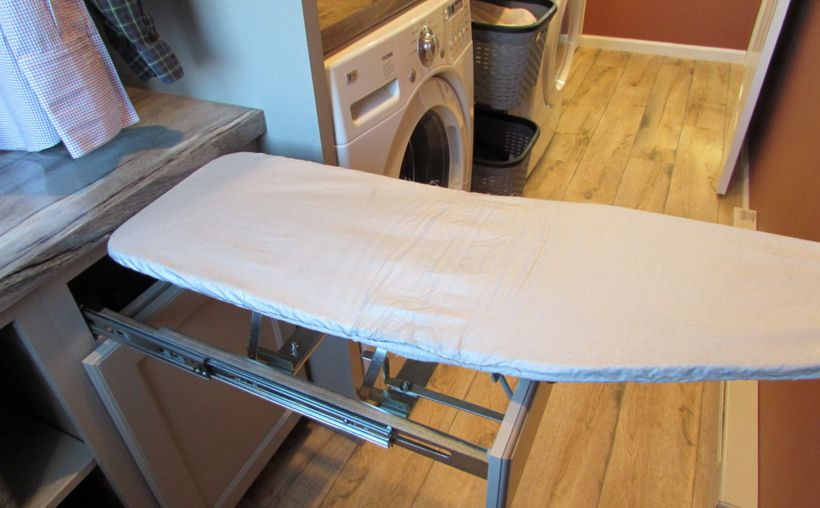 Drawer ironing board - pull and fold - open