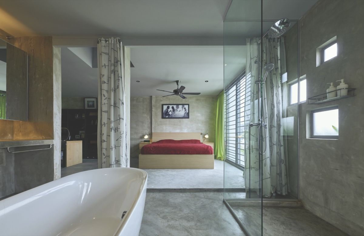 Reinvented courtyard home in Malaysia master bedroom suite