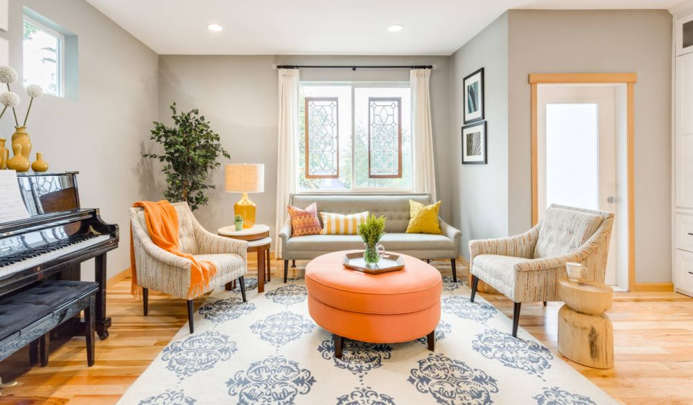 Orange and yellow can make a big impact as accent colors.