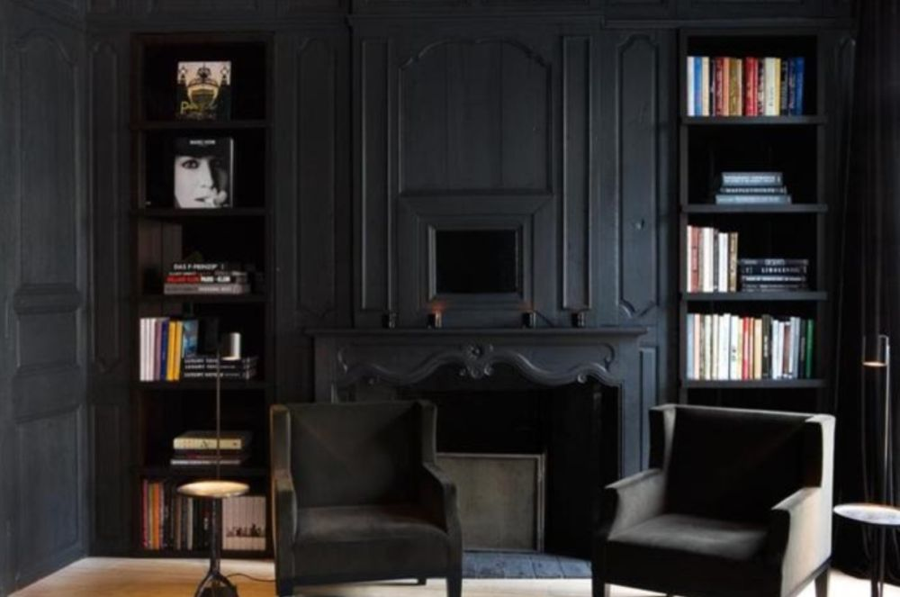 More traditional decor interiors are also sporting matte black walls for added drama