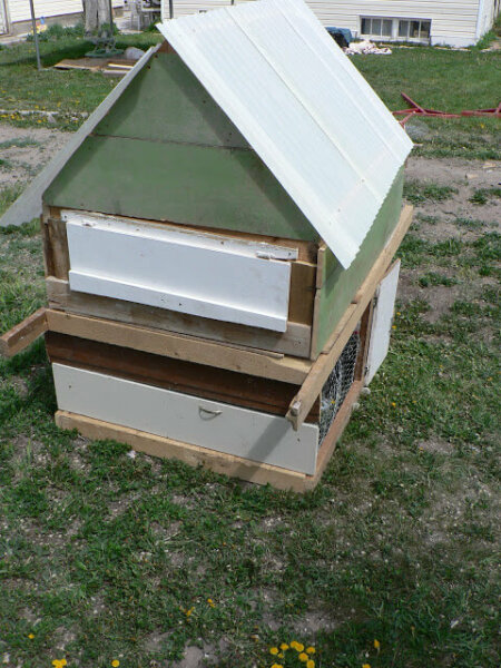 diy recycled cabinet chicken coop