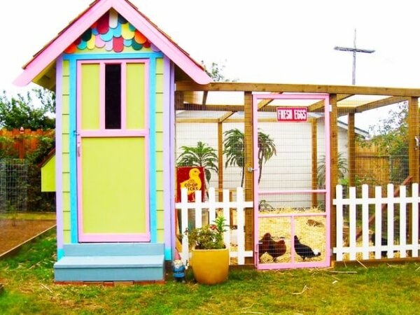 brightly colored chicken coop