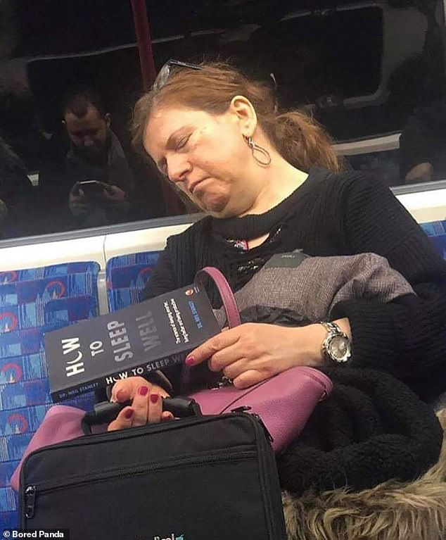 Passengers on the London underground were amused to see a woman sleeping while holding a book on how to be well rested
