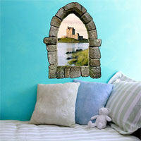 Castle wall window decal
