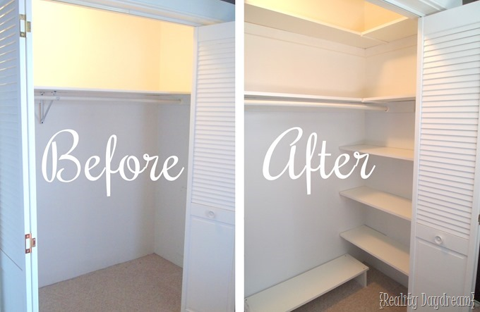 You can add SO MUCH extra space to your closet by just adding some DIY Shelving! Click through for the tutorial {Reality Daydream}