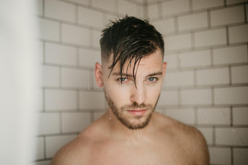 Young Attractive Male Model Washing Hair in Trendy Modern Subway Tile Wet Shower. Bathroom Shower Scene washing Hair with shampoo in modern remodeled shower royalty free stock photo