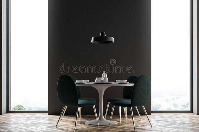 Black wall dining room, minimalism. Black wall dining room interior with a long wooden table, loft windows and many chairs. 3d rendering mock up vector illustration