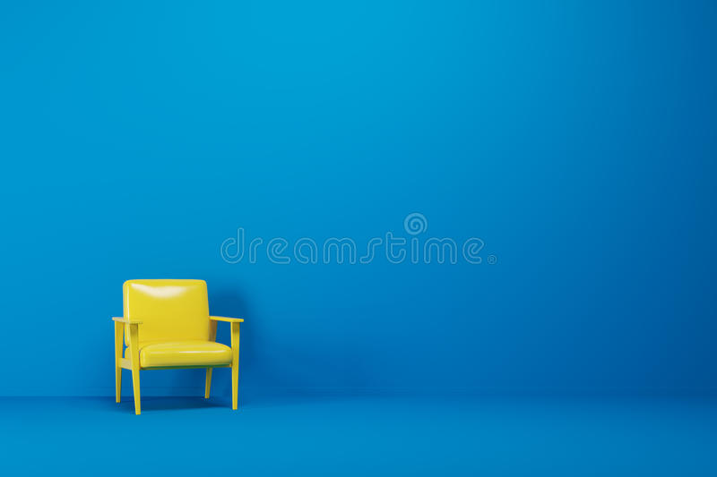 Blue empty room, yellow armchair. Bright yellow armchair is standing in an empty blue room with a blue floor. Concept of minimalism. 3d rendering mock up vector illustration