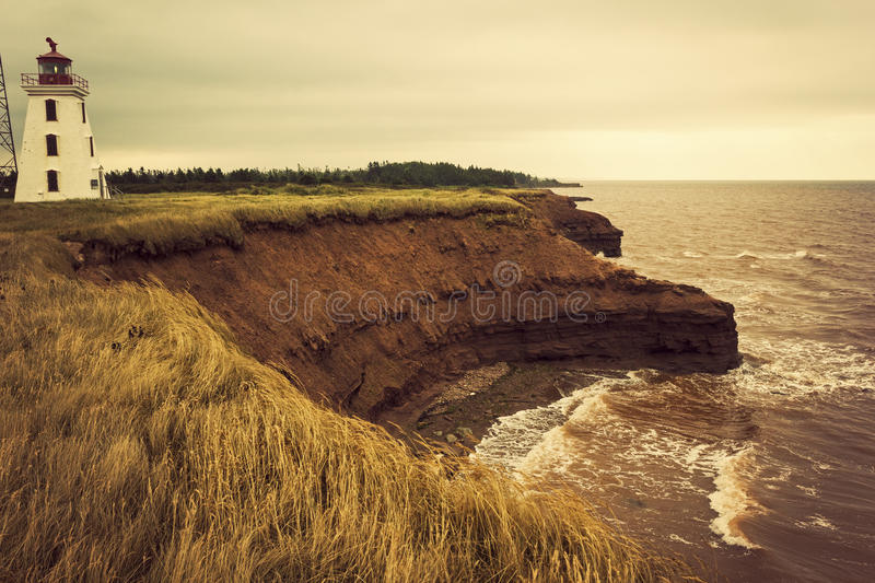 Cape Egmont Lighthouse in Prince Edward Island. In Canada stock image