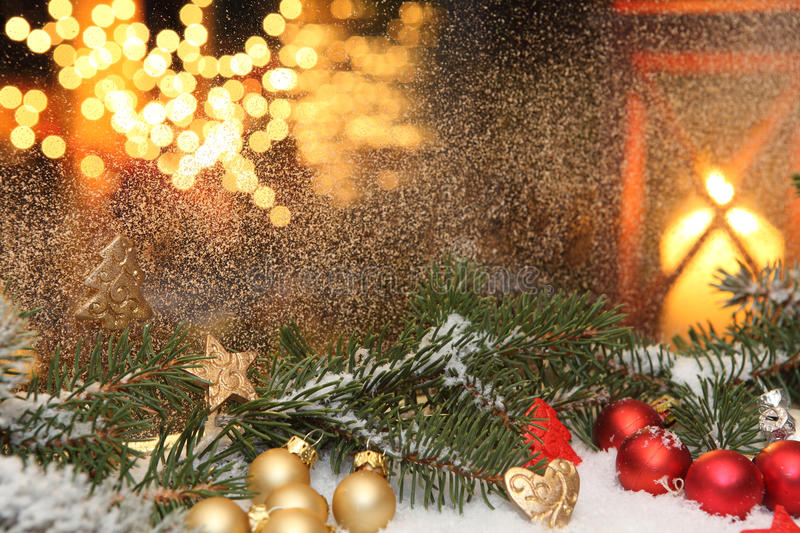 A Christmas window decorations. Window decorations at Christmas time stock image