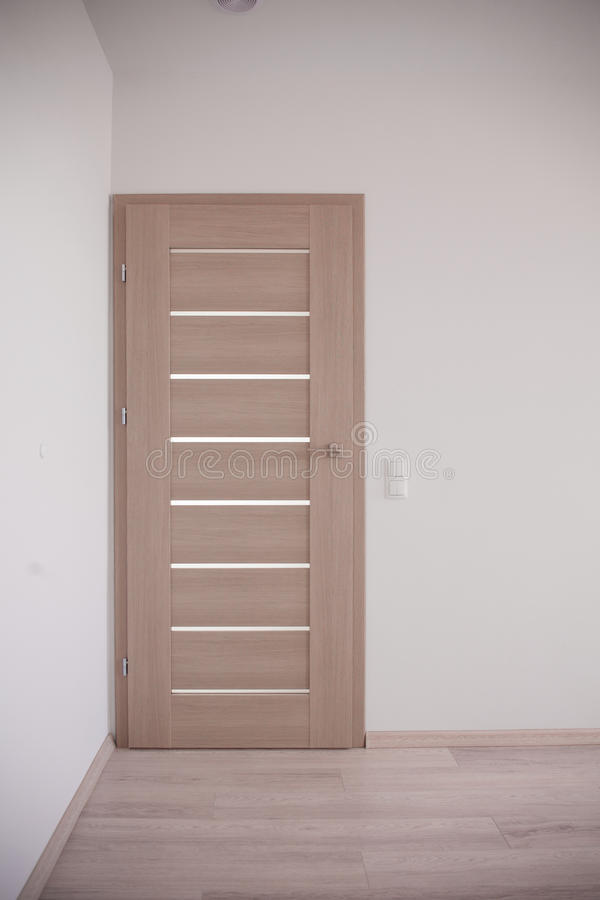 Closed bedroom door. Empty corridor and closed bedroom door stock images