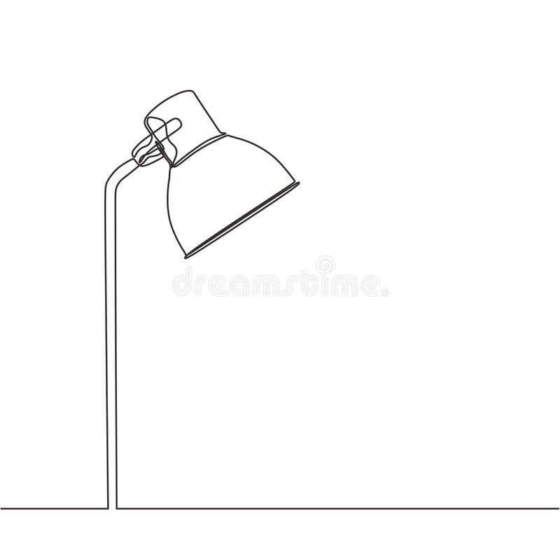 Continuous one line drawing of room lamp minimalism. vector illustration simplicity and clean design royalty free illustration