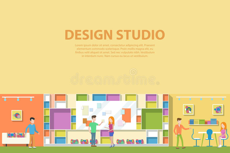 Creative graphic studio design interior. Creative artist corporate advertising agency making web paints vector illustration