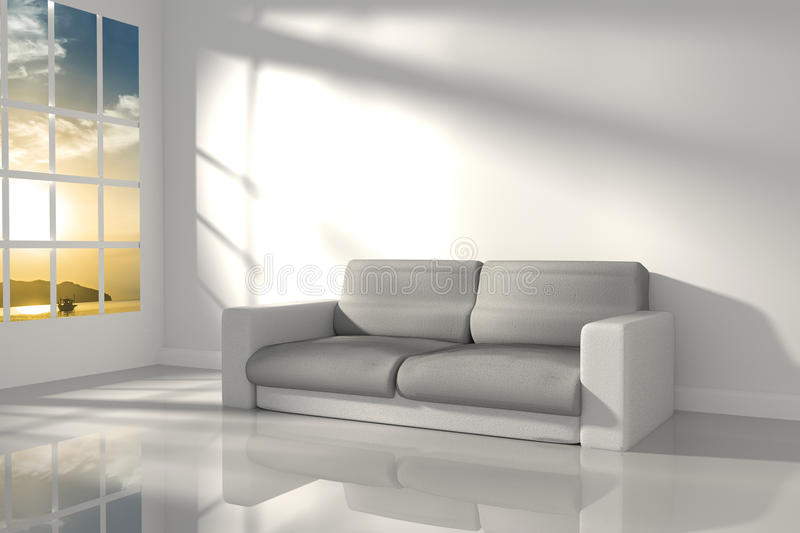 3D Rendering : illustration of interior room of minimalism white feeling with modern leather sofa furniture at the middle of room. Morning or sunset light vector illustration