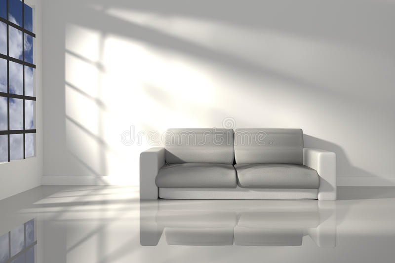 3D Rendering : illustration of interior room of minimalism white feeling with modern leather sofa furniture at the middle of room. On shiny floor, morning or vector illustration