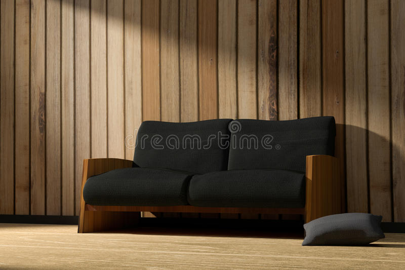 3D rendering : illustration of interior wooden room with modern loft minimalism furniture style in the sunrise or sunset moment.  stock illustration