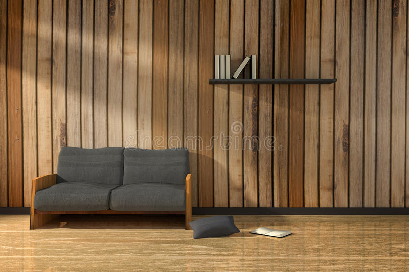 3D rendering : illustration of interior wooden room with modern loft minimalism furniture style in the sunrise or sunset moment.  royalty free illustration