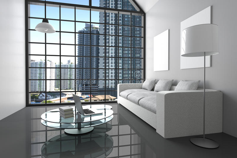 3D Rendering : illustration of modern interior white minimalism living room wth laptop computer,and book on glass table. Big glass window and city view.white royalty free illustration