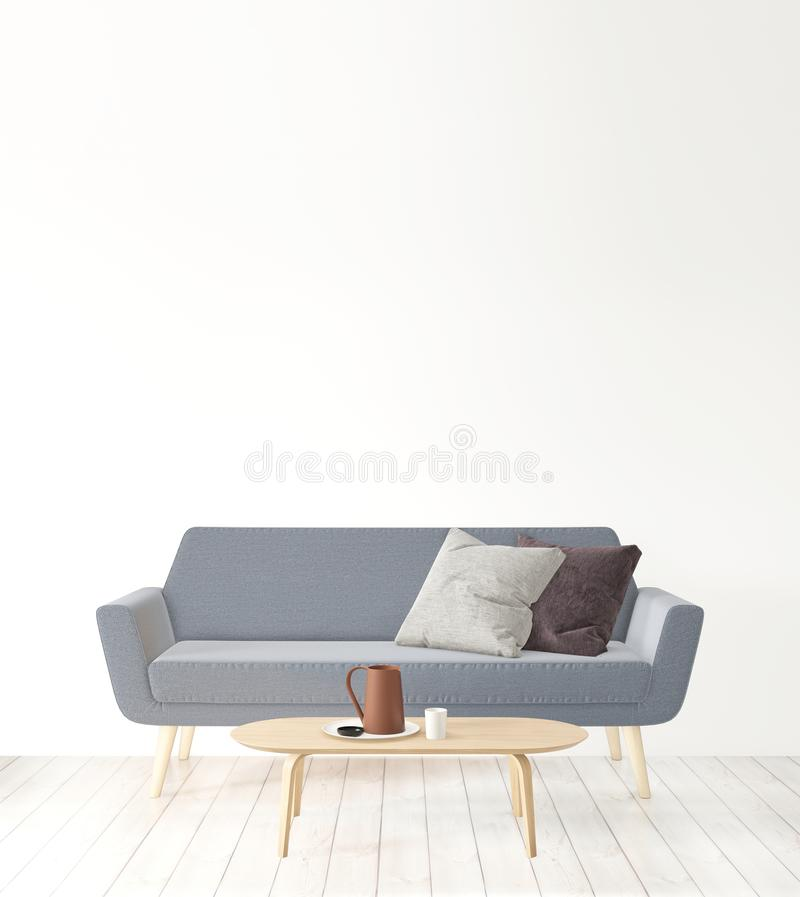 Living room copy space on the wall, hipster minimalism interior. 3D rendering, living room copy space on the wall, hipster minimalism interior royalty free illustration