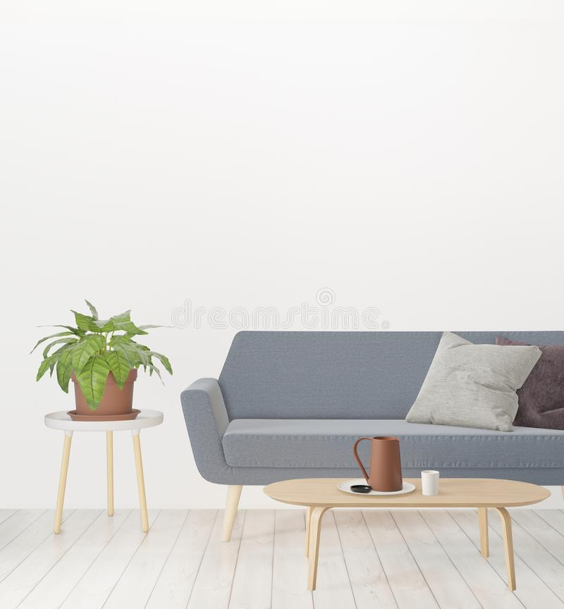 Living room copy space on the wall, hipster minimalism loft interior background, wooden floor. 3D rendering, living room copy space on the wall, hipster stock illustration