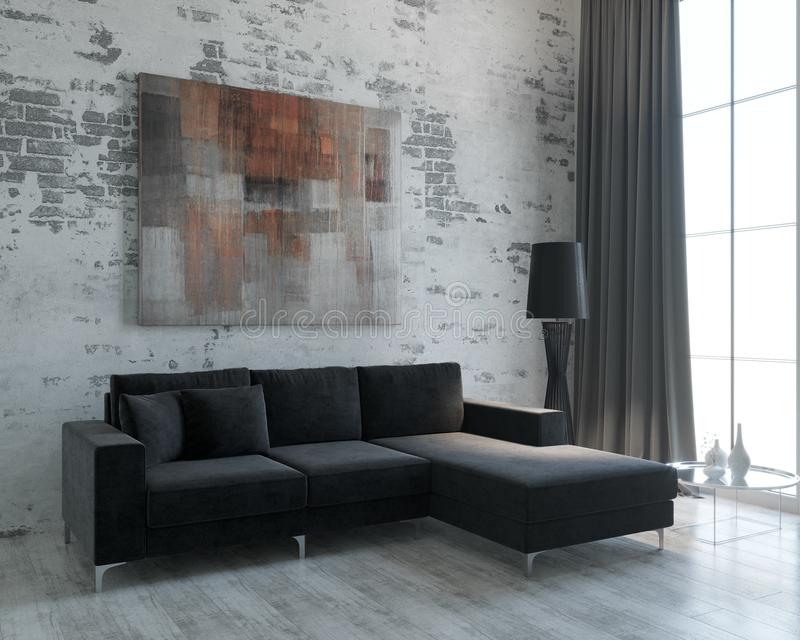 The design of the living room in the loft style. Minimalism. Design of the living room in the loft style. Minimalism. Panoramic window. Black corner sofa royalty free illustration