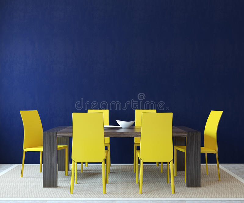 Dining-room interior. Modern dining-room interior. Minimalism. 3d render royalty free illustration