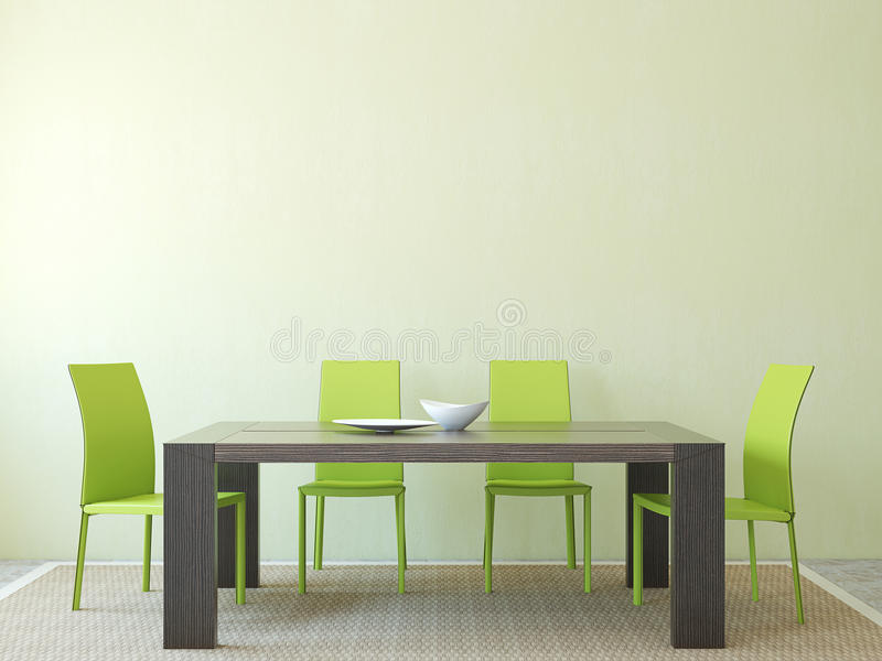 Dining-room interior. Modern dining-room interior. Minimalism. 3d render vector illustration