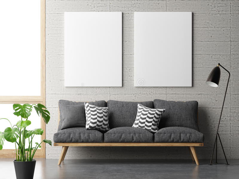 Dream living room, minimalism concept with mock up posters on concrete wall. 3d illustration royalty free illustration