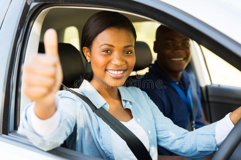 Driver thumb up stock photos
