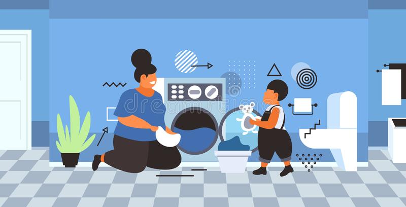 Family doing housework mother with son loading clothes in washing machine cleaning service concept modern bathroom. Interior horizontal full length sketch vector illustration