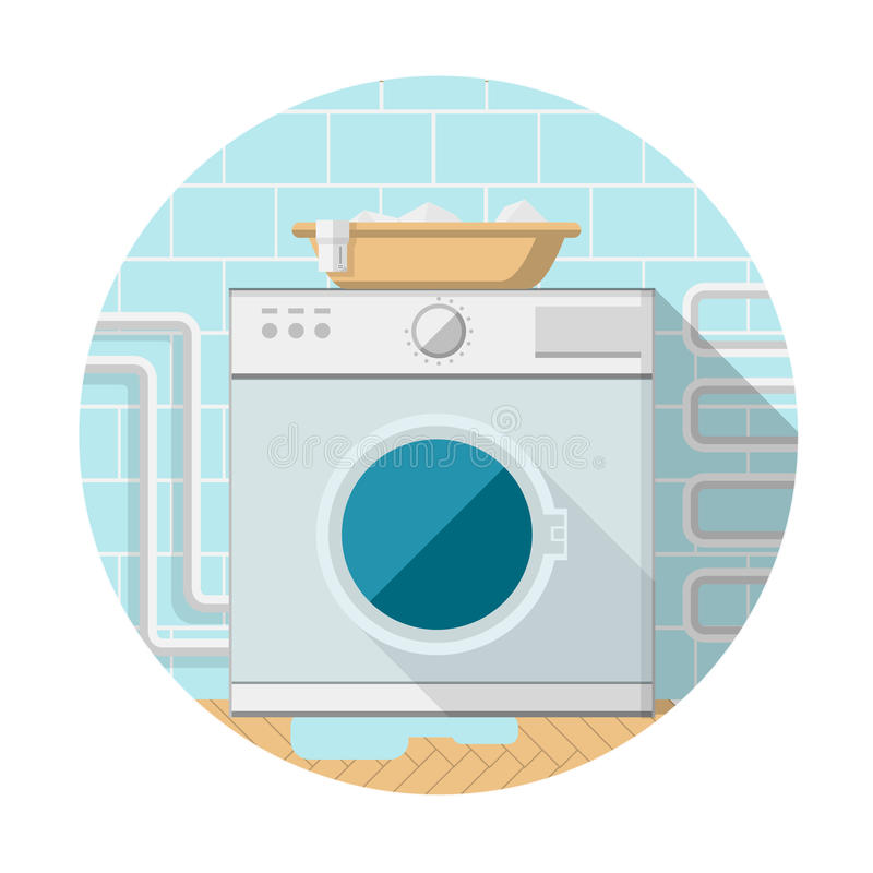 Flat icon of washing machine in bathroom. Gray washing machine with horizontal loading and brown basin with clothes on. Bathroom interior with blue tile and vector illustration