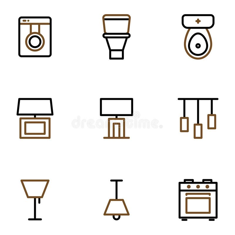 Furniture and decoration icon set include washing machine,bathroom,table lamp,lighting,chandelier,stove. Furniture and decoration icon set include washing stock illustration