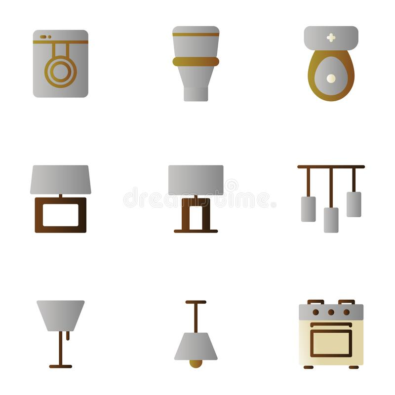 Furniture and decoration icon set include washing machine,bathroom,table lamp,lighting,chandelier,stove. Furniture and decoration icon set include washing royalty free illustration
