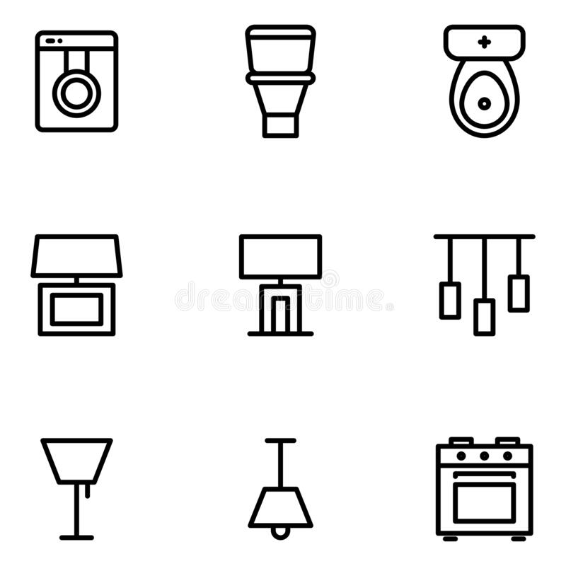 Furniture and decoration icon set include washing machine,bathroom,table lamp,lighting,chandelier,stove. Furniture and decoration icon set include washing vector illustration