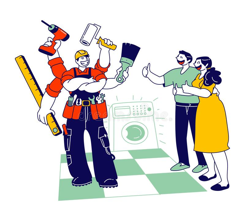 Handyman Plumber Fixing Washing Machine in Bathroom. Woman and Man Satisfied with Work Service. Worker Husband on an Hour, Master Help with Broken Technics stock illustration