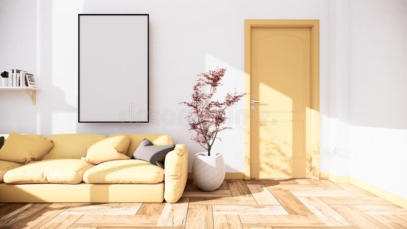 Interior scene mock up with yellow sofa and decoration on room minimalism. 3D rendering. Room interior - Interior scene mock up with yellow sofa and decoration stock illustration