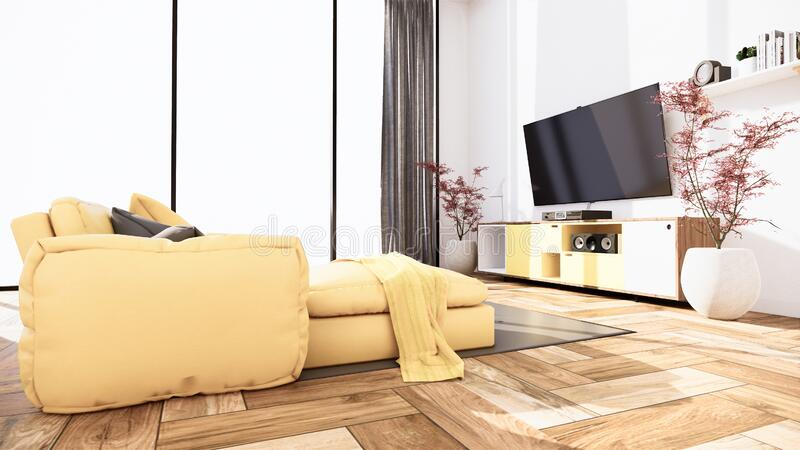 Interior scene mock up with yellow sofa and decoration on room minimalism. 3D rendering. Room interior - Interior scene mock up with yellow sofa and decoration vector illustration