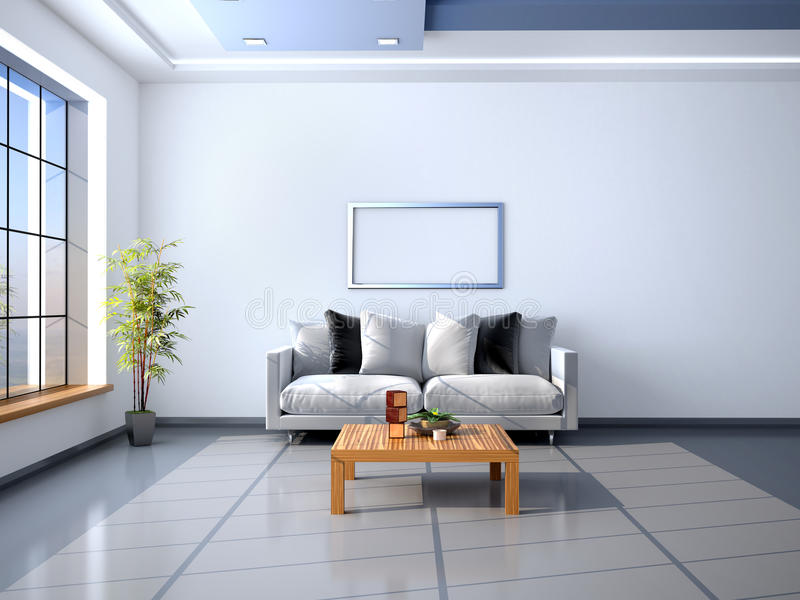 The interior in style of minimalism. Frame above the sofa. 3d illustration royalty free illustration