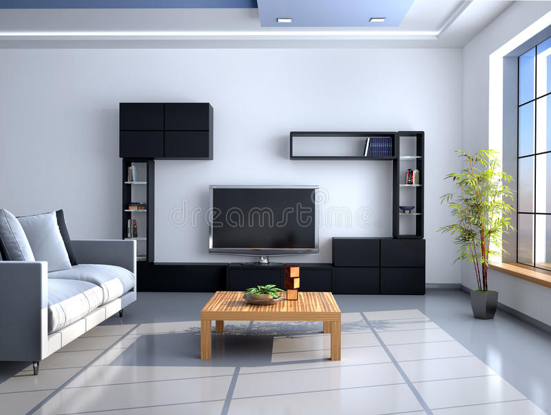 The interior in style of minimalism. Wall with TV. 3d illustration vector illustration