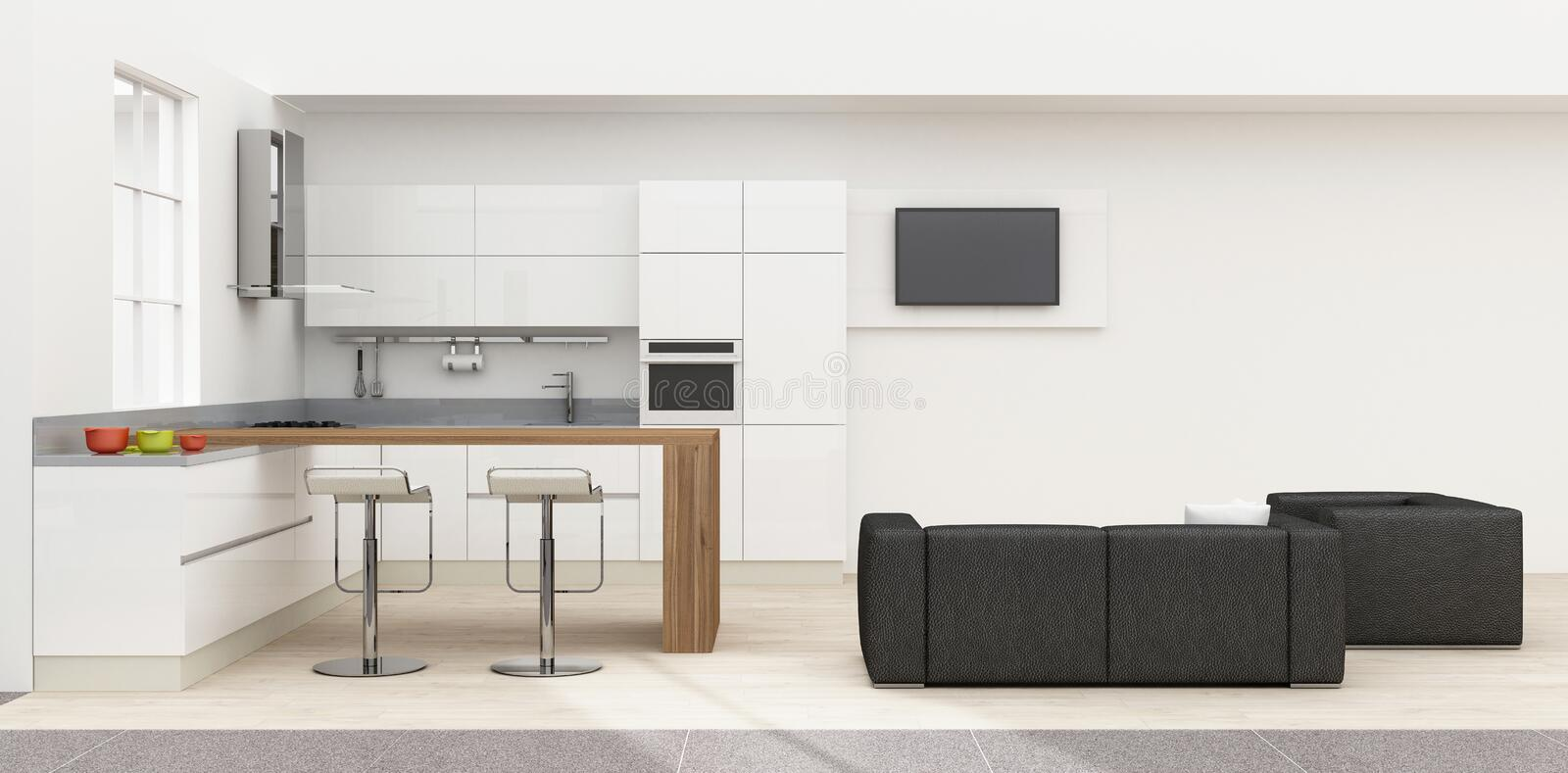 Kitchen interior 3D rendering vector illustration