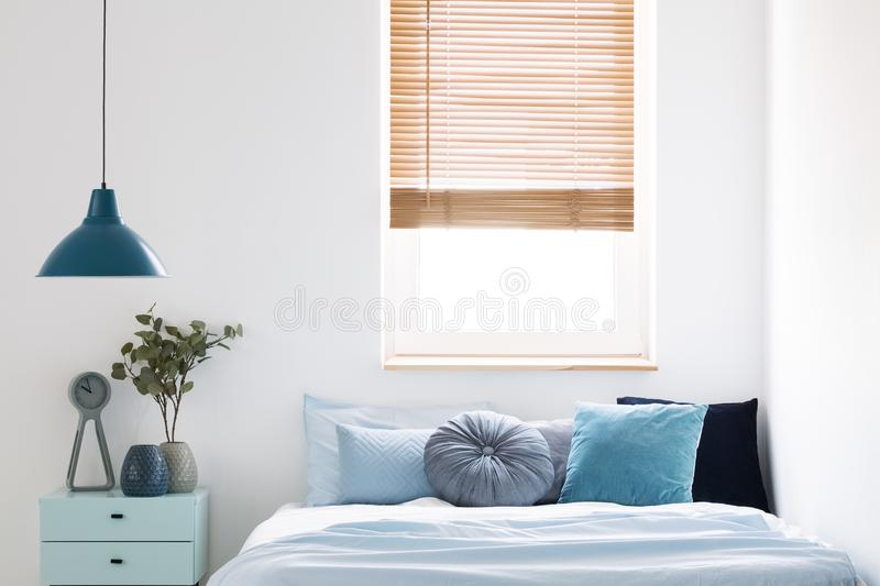 Lamp above blue cabinet with plant next to bed in simple bedroom. Interior with window. Real photo royalty free stock image