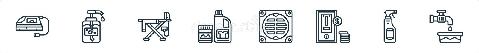 Laundry line icons. linear set. quality vector line set such as water tap, spray bottle, washing machine, bathroom, bleach,. Ironing board, liquid soap vector illustration