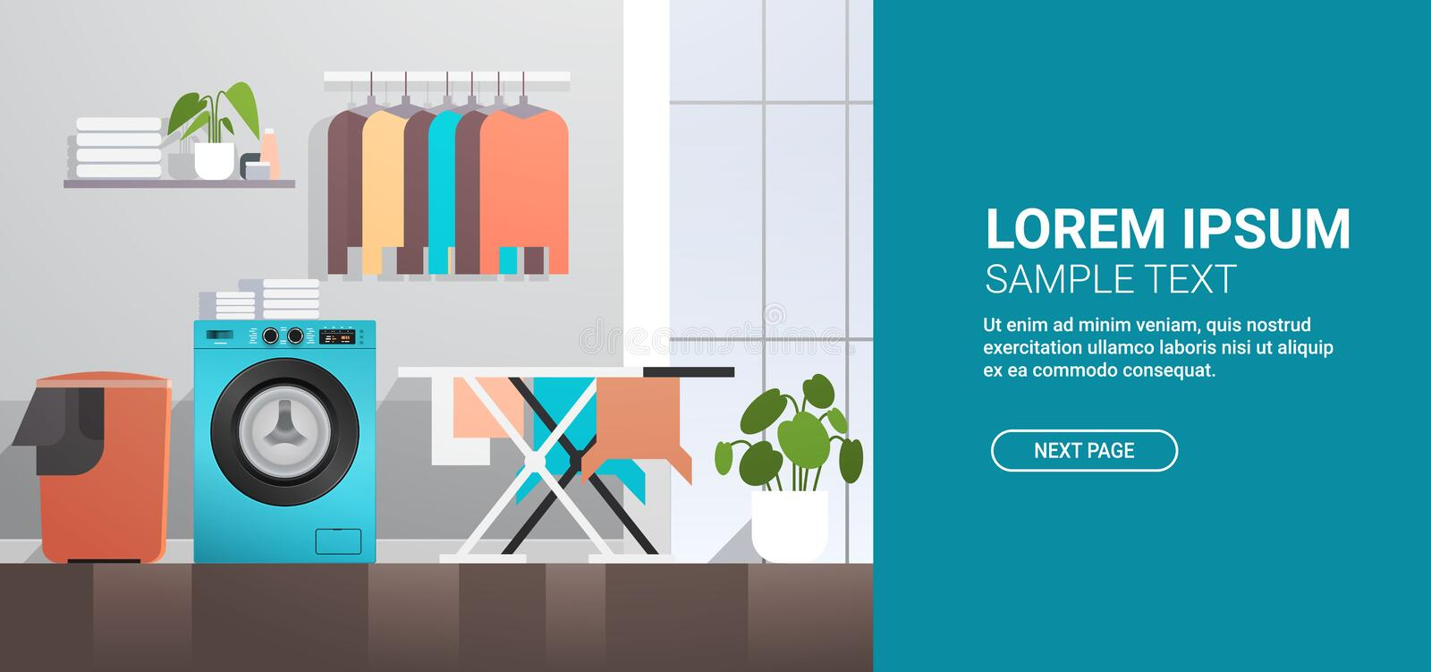 Laundry room with washing machine basket ironing board and clothes rack modern bathroom interior. Horizontal copy space vector illustration royalty free illustration