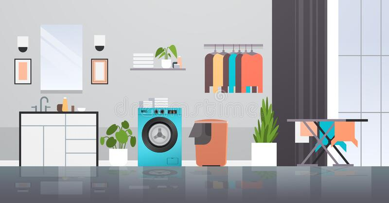 Laundry room with washing machine basket ironing board and clothes rack modern bathroom interior. Horizontal vector illustration stock illustration