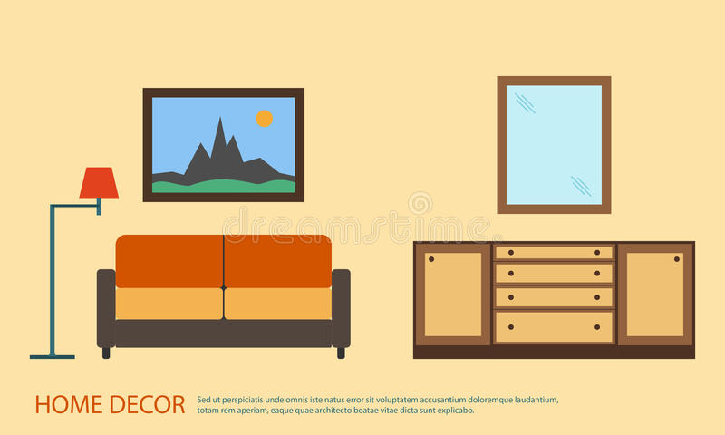 Living room with furniture minimalism. Flat style vector illustration.  stock illustration