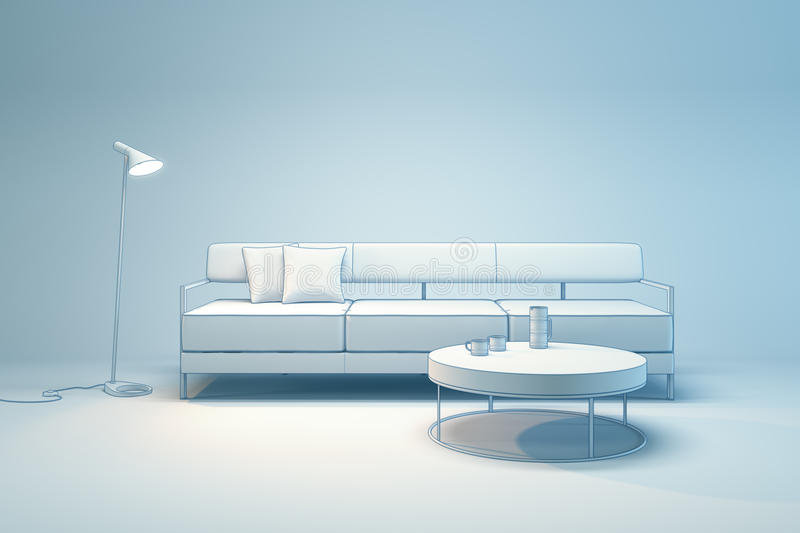 Living-room interior in minimalism style. 3d render royalty free illustration