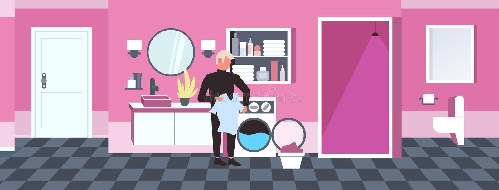 Man doing housework guy loading clothes in washing machine cleaning service concept modern bathroom interior horizontal. Full length sketch vector illustration stock illustration
