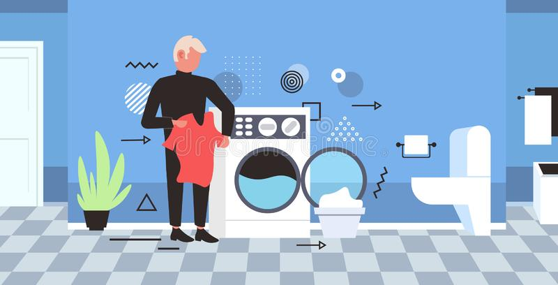 Man doing housework guy loading clothes in washing machine cleaning service concept modern bathroom interior horizontal. Full length sketch vector illustration royalty free illustration